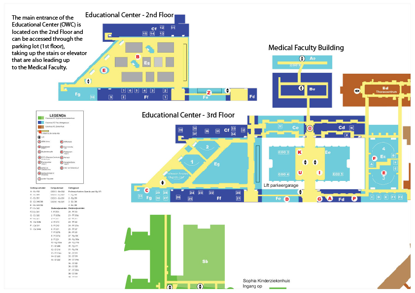 Map of the Education Center (Onderwijscentrum) Erasmus MC